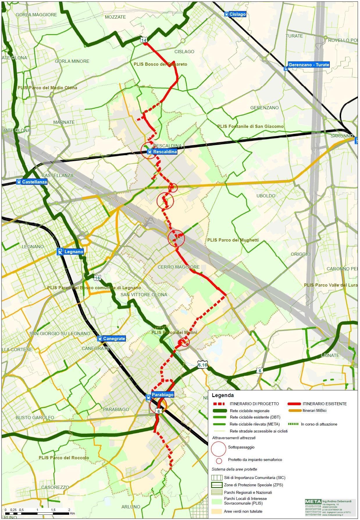 – Inquadramento del progetto nella rete delle Infrastrutture per la mobilità ciclabile esistenti od in corso di realizzazione per il superamento di barriere infrastrutturali